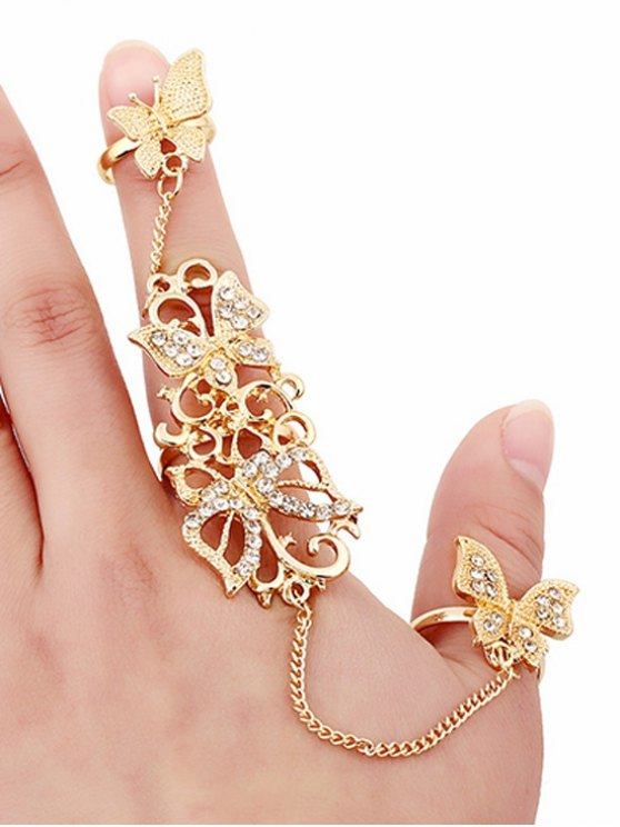 fancy Rhinestone Butterfly Rings - GOLDEN