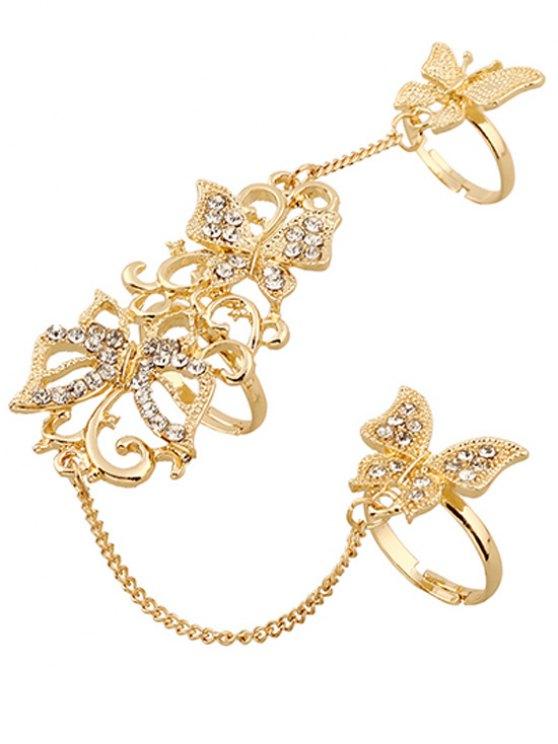 Rhinestone Butterfly Rings - GOLDEN  Mobile