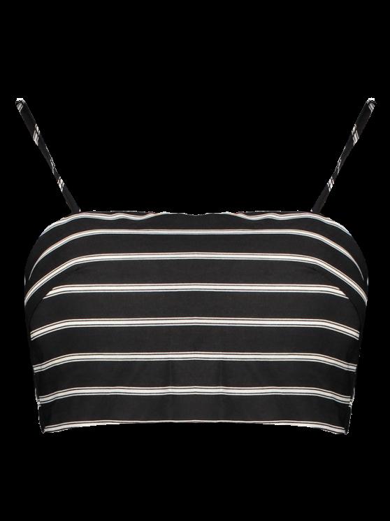 Stripe Cami Cropped Tank Top - WHITE AND BLACK L Mobile