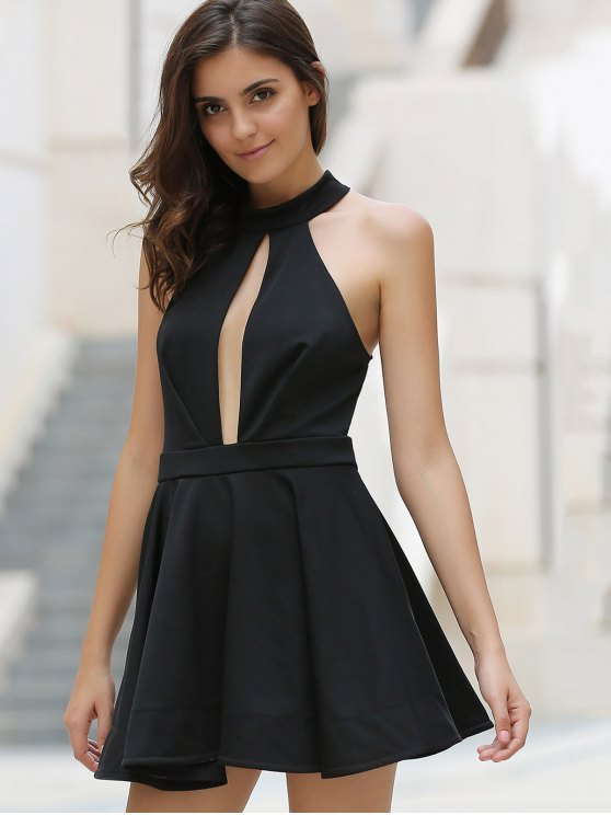 Cut Out Stand Collar Voile Spliced Dress - BLACK L Mobile