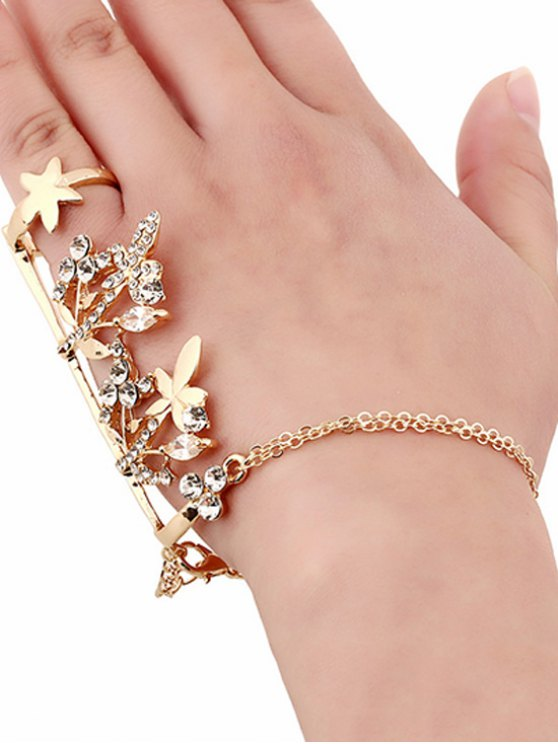 Rhinestone Maple Leaf Ring and Wrist Chain - GOLDEN  Mobile