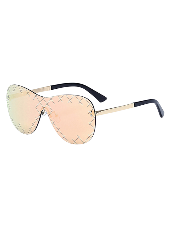 Plaid Mesh Mirrored Shield Sunglasses - Or Rose