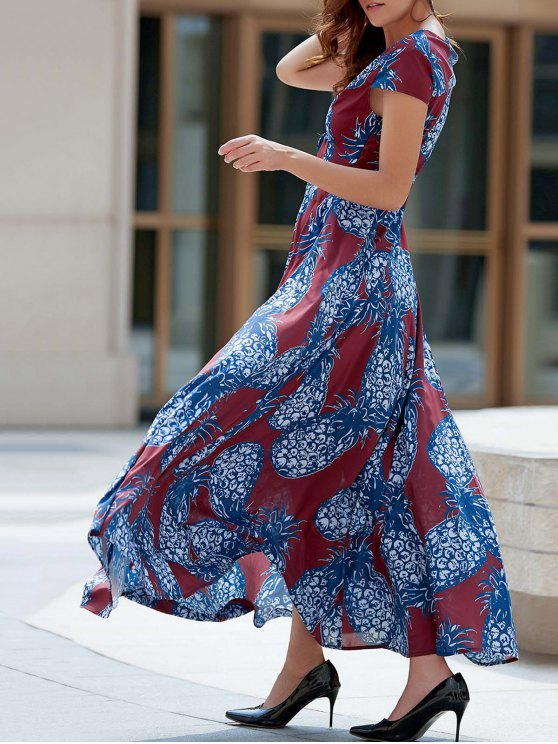 shops Pineapple Print Plunging Neck Short Sleeve Maxi Dress - BLUE AND RED XL