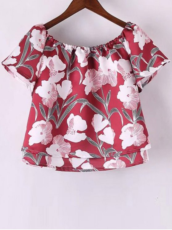 Floral Off The Shoulder Crop Top - RED S Mobile