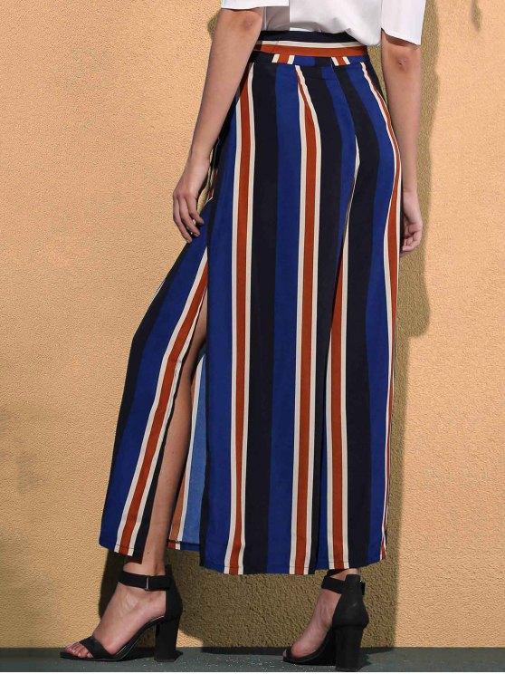 Striped Color Block High Waist Wide Leg Pant - BLUE S Mobile