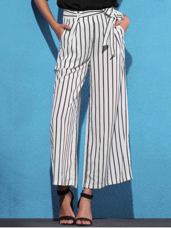 Side Knot Stripe Wide Leg Pants - WHITE S Mobile