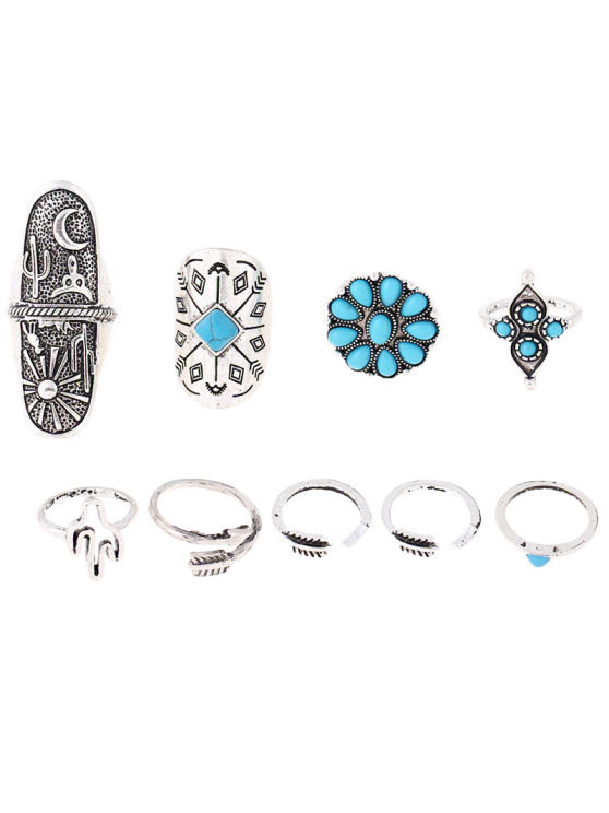 Tribe Style Embossed Rings - SILVER  Mobile