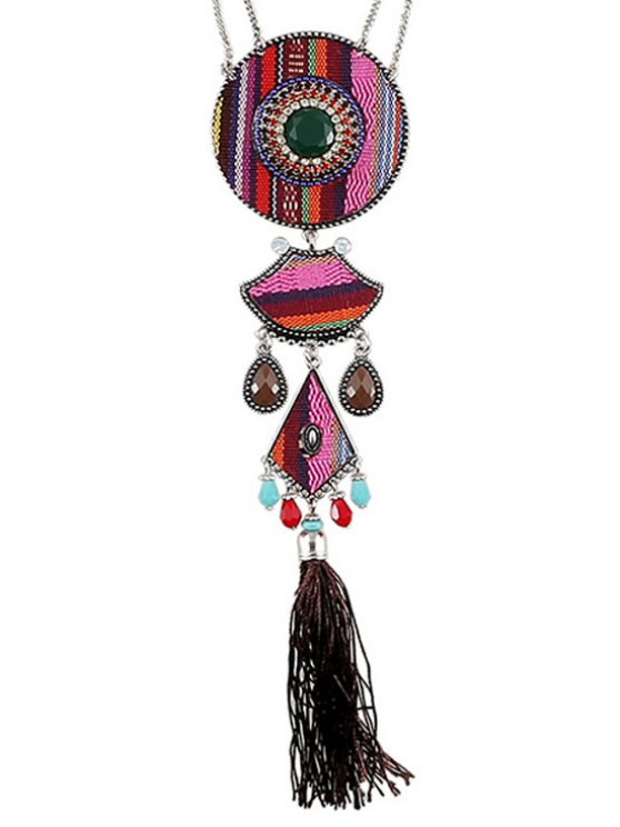 Tassel Ethnic Style Pendant Necklace - PINK  Mobile