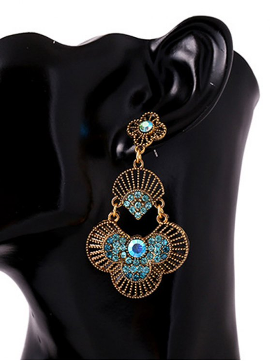 outfit Rhinestone Hand Fan Pendant Earrings - BLUE