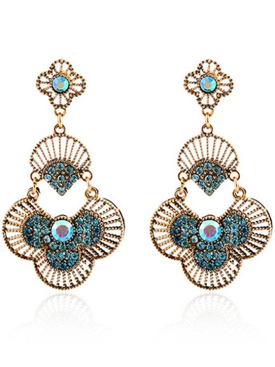 Rhinestone Hand Fan Pendant Earrings - BLUE  Mobile