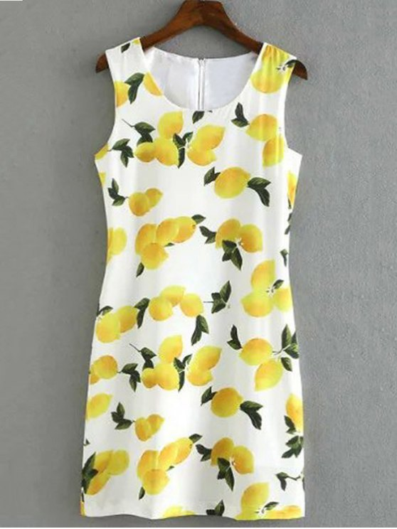 lady Lemon Print Round Collar Sleeveless Dress - WHITE L