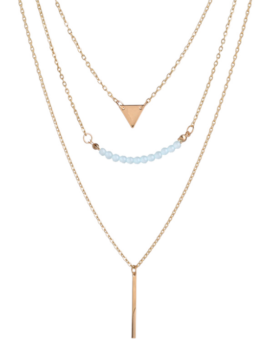 Beaded Bar Triangle Pendant Necklace - GOLDEN  Mobile
