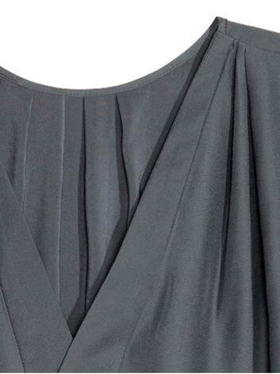 Loose Solid Color V Neck Short Sleeve T-Shirt - BLACK L Mobile