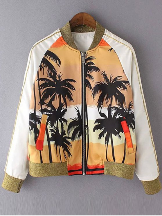 chic Coconut Tree Print Stand Neck Long Sleeve Jacket - YELLOW S