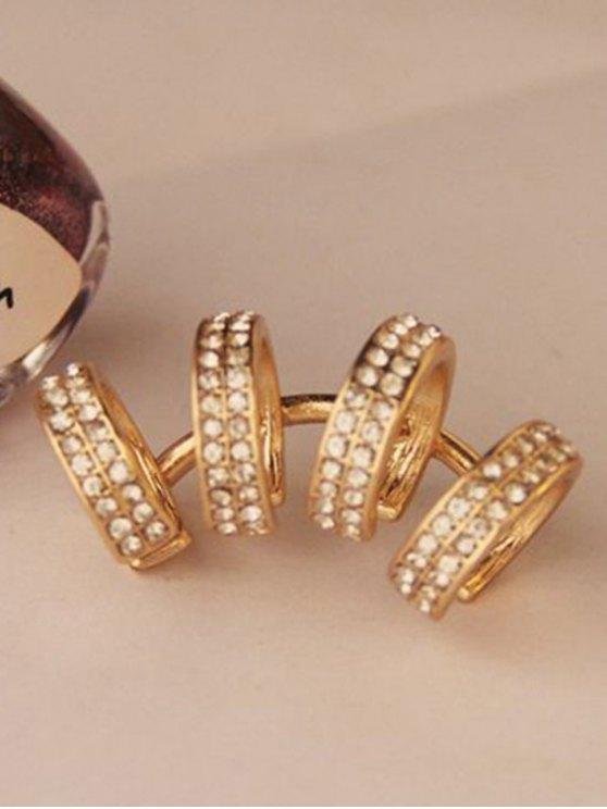 Rhinestones Circle Clip Earrings - GOLDEN  Mobile
