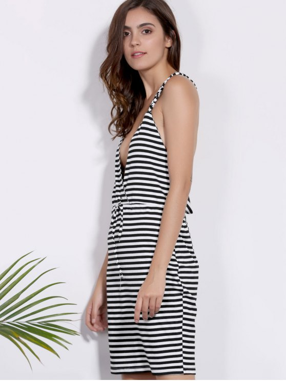 Deep V Neck Striped Braided Dress - WHITE AND BLACK S Mobile