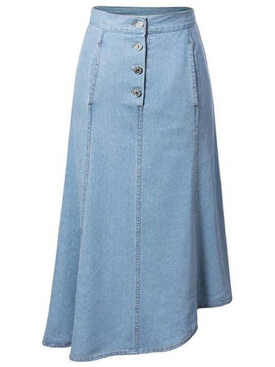 buy Hip Pockets Asymmetrical Denim Skirt - LIGHT BLUE M