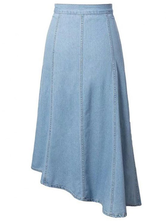 Hip Pockets Asymmetrical Denim Skirt - LIGHT BLUE M Mobile