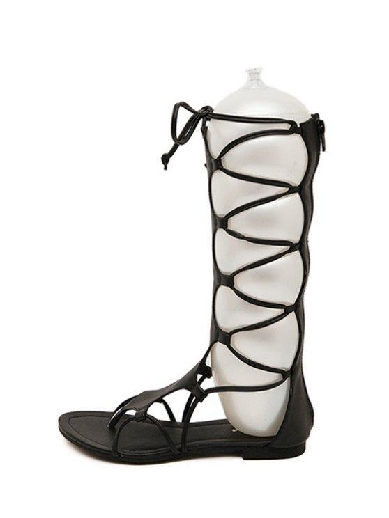 High Top Solid Color Flat Heel Sandals - BLACK 36 Mobile