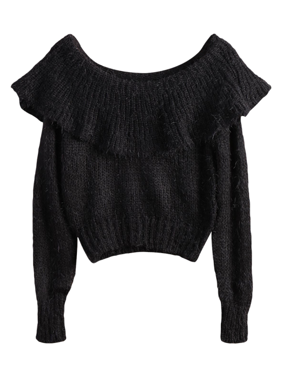 Flounced Fuzzy High-Low Sweater - BLACK ONE SIZE Mobile