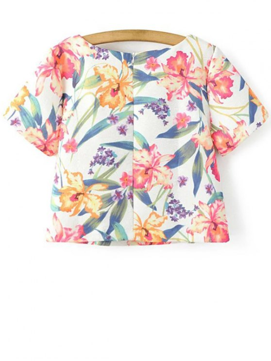 Cropped Floral Print T-Shirt and Mini Skirt Twinset - WHITE S Mobile