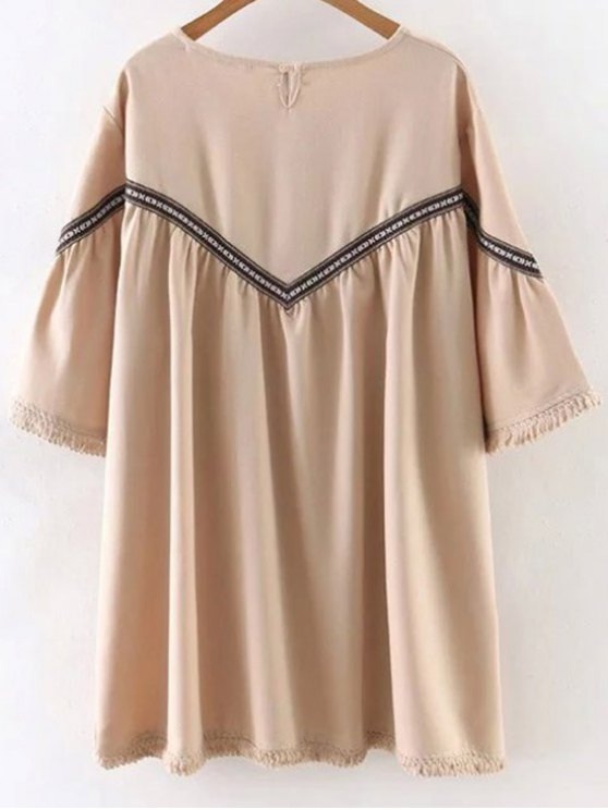 Embroidered Tassels 3/4 Sleeve Tunic Dress - APRICOT L Mobile