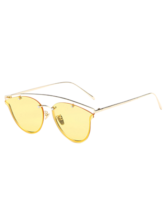 fashion Transparent Lens Crossbar Butterfly Sunglasses - YELLOW