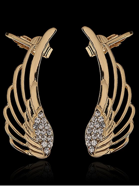 Rhinestones Hollow Out Wings Clip Earrings - GOLDEN  Mobile