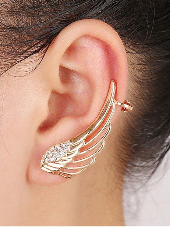 Strass évider Ailes clip Boucles d'oreilles - Or