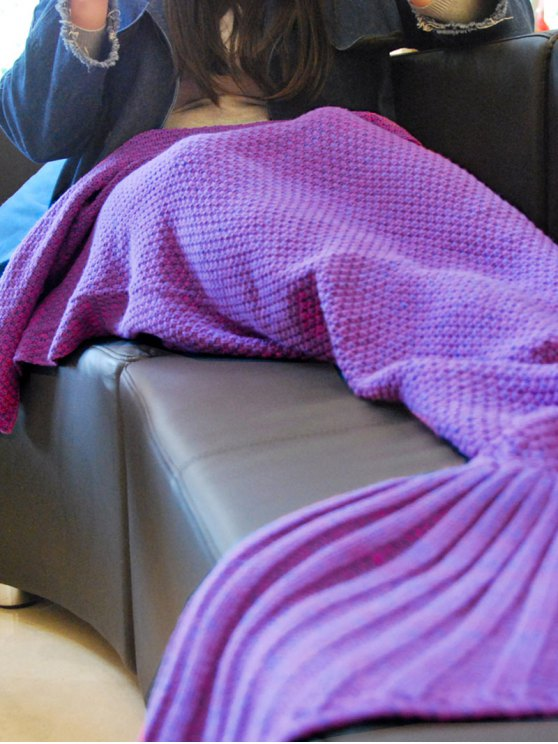 Knitted Mermaid Tail Throw Blanket -   Mobile