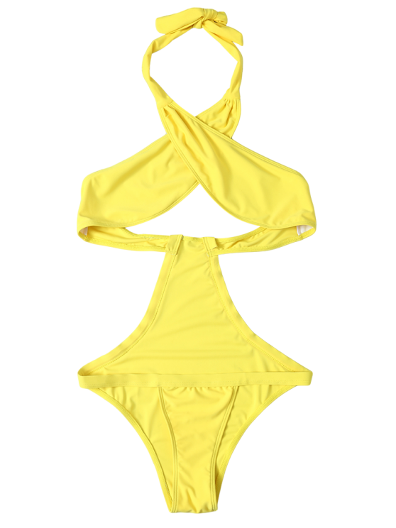 Halter Criss Cross One Piece Swimwear - YELLOW S Mobile