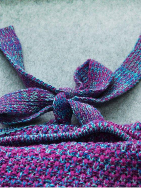 Knitted Mermaid Design Throw Blanket -   Mobile