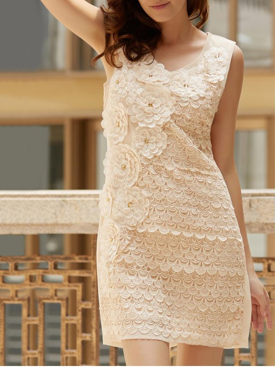 Floral Embroidered Scoop Neck Sleeveless Dress - APRICOT ONE SIZE(FIT SIZE XS TO M) Mobile