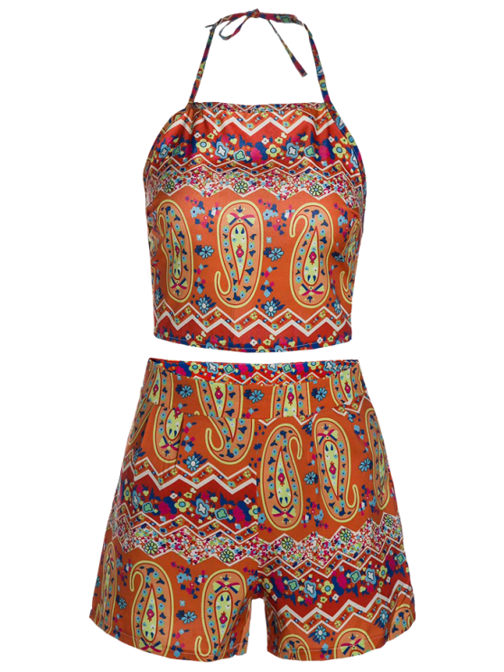 Halter Backless Crop Top and Printed Shorts Suit - ORANGE S Mobile