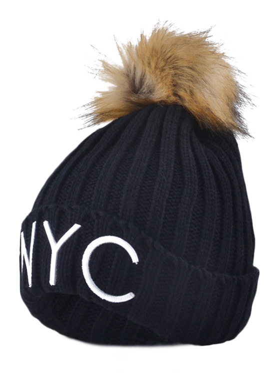 women's Knitted NYC Embroider Pom Ball Beanie Hat - BLACK