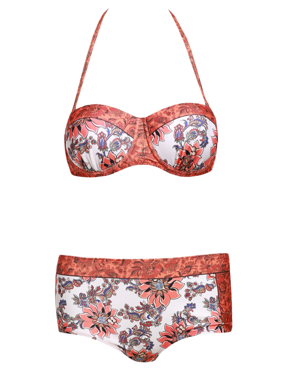 Floral Print Halter Padded Swimsuit - ORANGE S Mobile