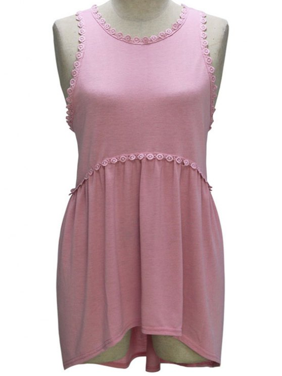 new Loose Fitting Round Collar Sleeveless T-Shirt - PINK S