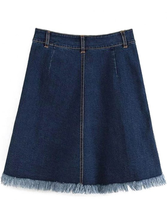 Button-Front Denim Skirt - DEEP BLUE L Mobile