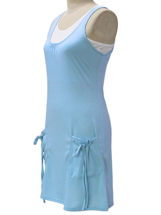 White Crop Tank Top and Solid Color Dress Twinset - LIGHT BLUE M Mobile