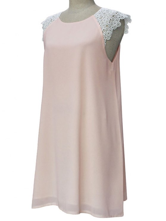 fancy Sleeveless Round Collar Lace Spliced Dress - LIGHT PINK L