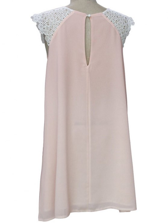Sleeveless Round Collar Lace Spliced Dress - LIGHT PINK XL Mobile