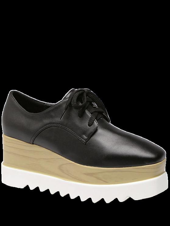 Square Toe Lace-Up Platform Shoes - BLACK 38 Mobile