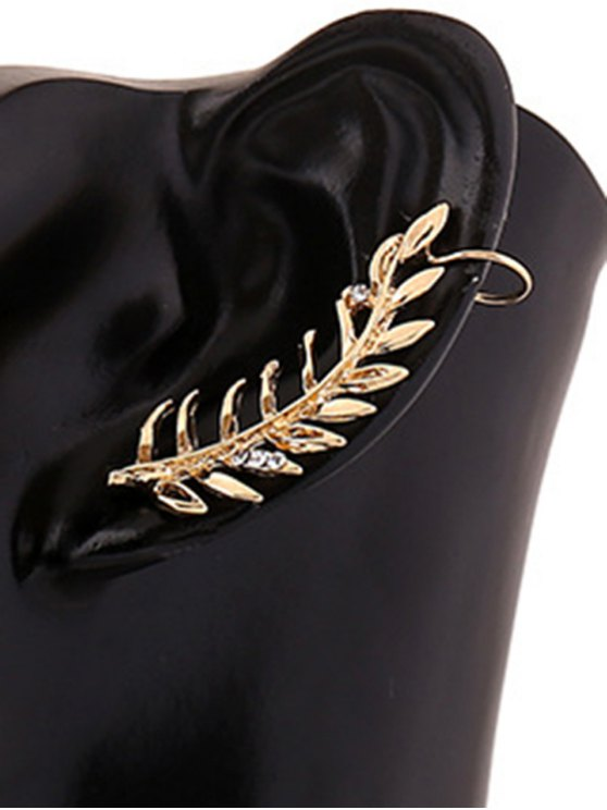 Diamantes de imitación de la hoja del pendiente de clip - Dorado