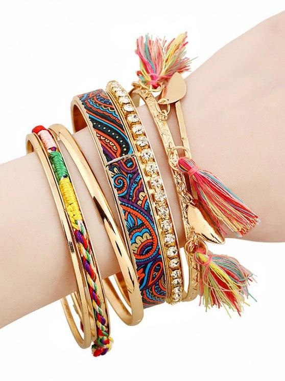 Rhinestone Tassel Ethnic Bracelets - GOLDEN  Mobile