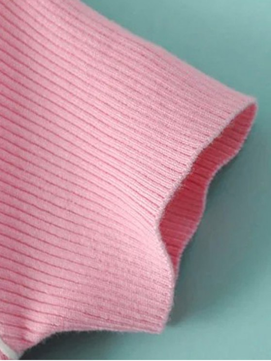 Color Block V Neck Short Sleeve Cropped T-Shirt - BLUE M Mobile