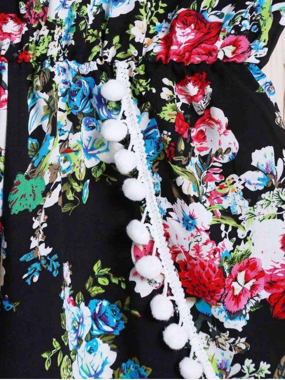 Spaghetti Strap Laciness Floral Romper - BLACK M Mobile
