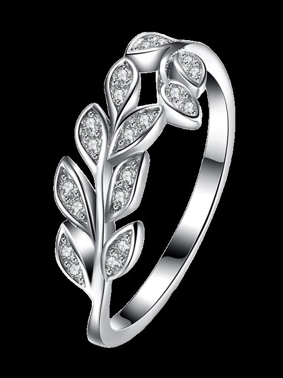 fashion Leaf S925 Diamond Ring - SILVER 8
