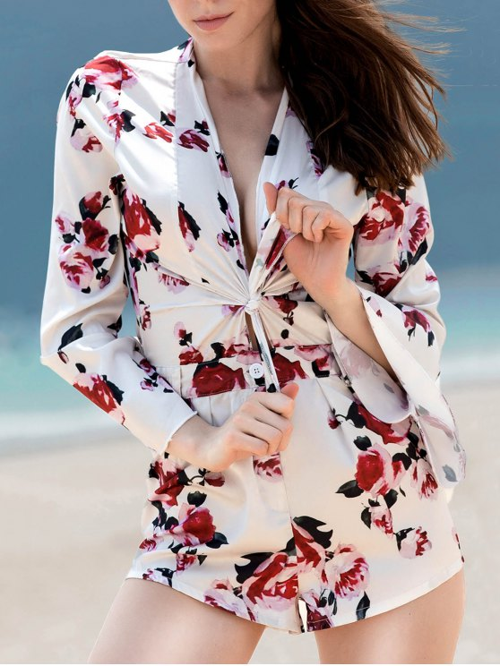 Bell Sleeve Tie Front Floral Romper - COLORMIX L Mobile