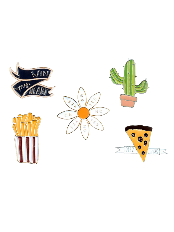 chic Floral Letter Cheese Cactus Brooch Set - GOLDEN