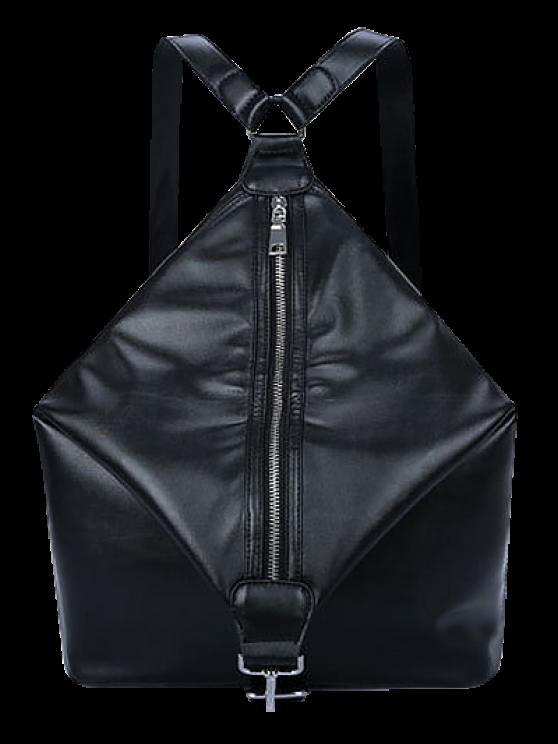 shop Zip PU Leather Metal Backpack - BLACK